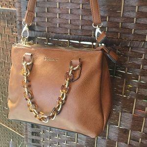Handbags - Cognac Vegan Leather satchel purse